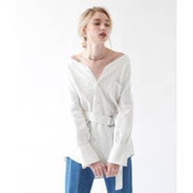 ティティベイト titivate リネンVネックオーバーサイズシャツ (ホワイト)