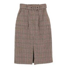 ティティベイト titivate バックルベルト付きチェックタイトスカート (キャメル)