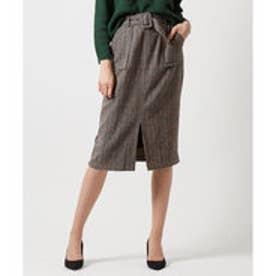 ティティベイト titivate バックルベルト付きチェックタイトスカート (ベージュ)