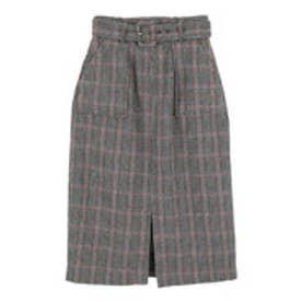ティティベイト titivate バックルベルト付きチェックタイトスカート (グレー)