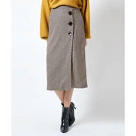 ティティベイト titivate ビッグボタンラップタイトスカート (ブラウン)