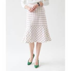 ティティベイト titivate 裾フレアチェックスカート (ホワイト)
