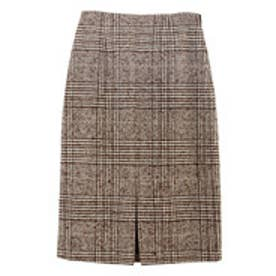 ユアーズ ur's フロントスリットパターンタイトスカート (チェック/ブラウン)