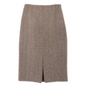 ユアーズ ur's フロントスリットパターンタイトスカート (ヘリンボーン/ブラウン)