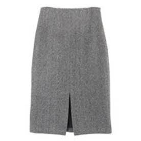 ユアーズ ur's フロントスリットパターンタイトスカート (ヘリンボーン/ブラック)