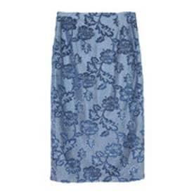 ユアーズ ur's ジャガード風ベロアタイトスカート (ブルー)