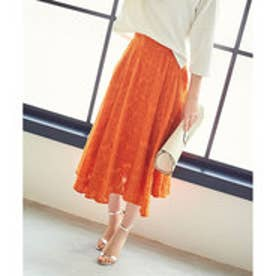 ユアーズ ur's シフォン花柄フレアスカート (オレンジ)