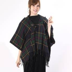 ミージェーン me Jane 先染めチェック裾フリンジポンチョ (ネービー)