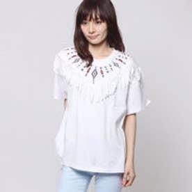 ミージェーン me Jane オルテガ刺繍フリンジTシャツ (オフホワイト)