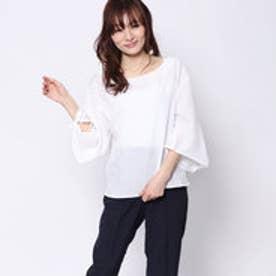 ミージェーン me Jane 袖リボンスキッパーシャツ (オフホワイト)