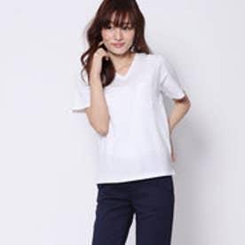 ミージェーン me Jane ポケット付VネックTシャツ (オフホワイト)
