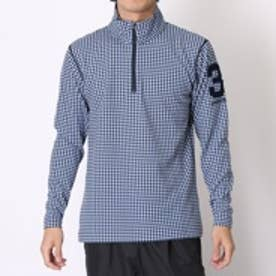 アディダス adidas ゴルフシャツ JP ADICROSS ミニチェック L/S ジップモック CCD10 ネイビー (ネイビー)