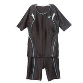 アリーナ ARENA レディース 水泳 フィットネス水着 大きめカラースナップ付き袖付きセパレーツ LAR-7242W【返品不可商品】