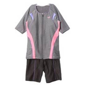 アリーナ arena レディース 水泳 フィットネス水着 大きめカラースナップ付き袖付きセパレーツ LAR-7242W