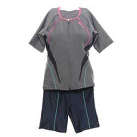 アリーナ arena レディース 水泳 フィットネス水着 大きめカラースナップ付き 袖付きセパレーツ LAR-8242W【返品不可商品】