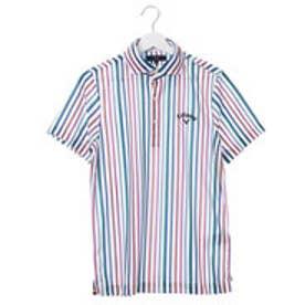 キャロウェイ Callaway メンズ ゴルフ 半袖シャツ ストライププリントバックメッシュワイドカラーシャツ 7157520