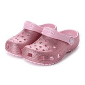 クロックス crocs ジュニア クロッグサンダル Classic Glitter Clog Kids 205441-682 (ピンク)