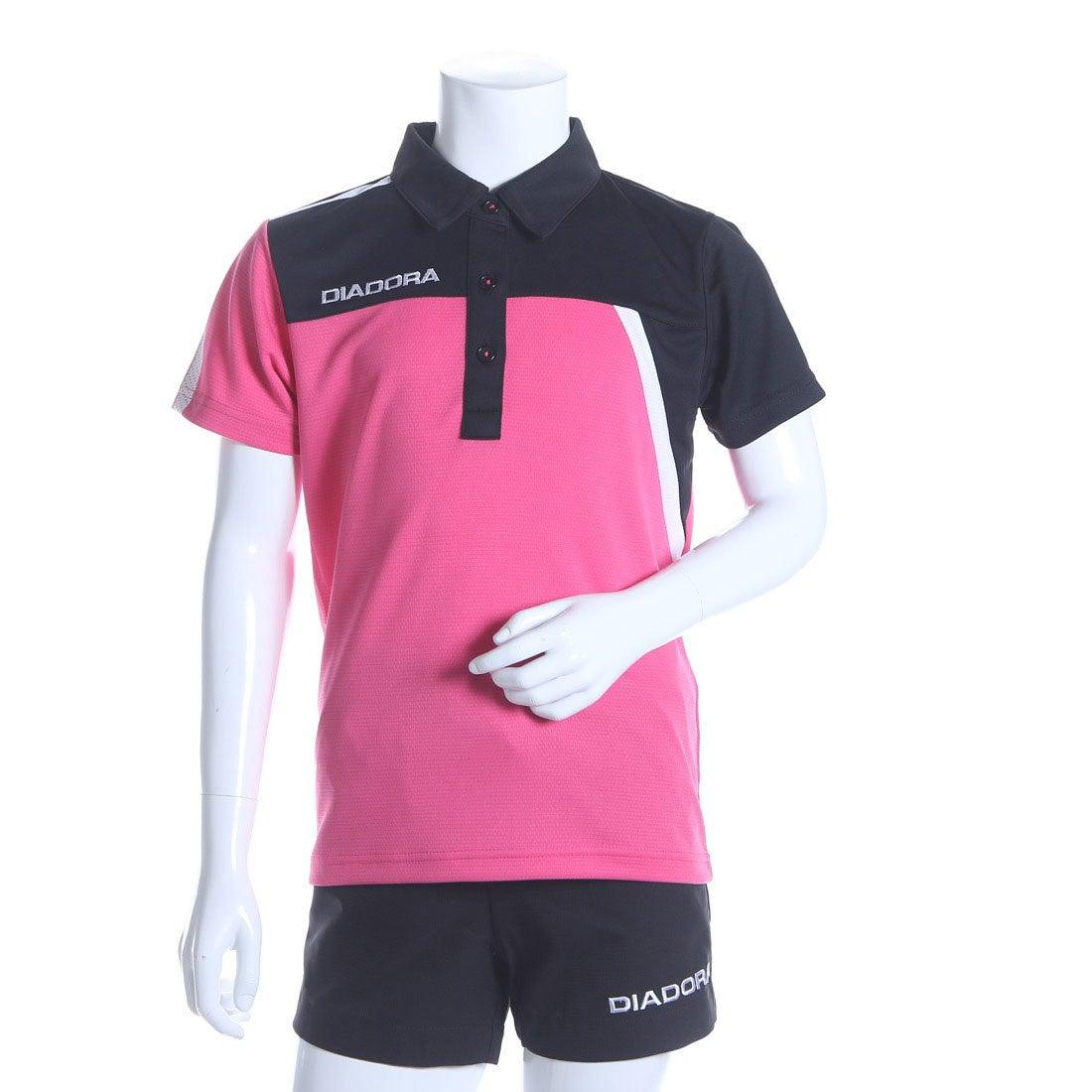 dd0e58f520d78 ディアドラ Diadora ジュニアテニスシャツ ジュニア ゲームシャツ(女の子) TJ6340 ピンク (ピンクFL×ホワイト)  -レディースファッション通販 ロコンドガールズ ...