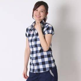 ルコックスポルティフ le coq sportif ゴルフシャツ 半袖シヤツ(ニツト) XQGL1557 (ホワイト×ネイビー)