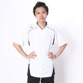 ミズノ MIZUNO 野球Tシャツ ベースボールシャツ・小衿・ハーフボタン 12JC6L1114 (ホワイト×ネイビー)