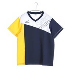 ミズノ MIZUNO バレーボールウォームアップジャケット クロスシャツ V2JC600284  (ドレスネイビー×サイバーイエロー)