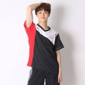 ミズノ MIZUNO バレーボールウォームアップジャケット クロスシャツ V2JC600296  (ブラック×レッド)