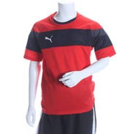 プーマ PUMA ジュニアサッカープラクティスシャツ TT SPIRIT 2 ジュニアSSトレーニングTEE 654818 レッド  (PUMA RED)