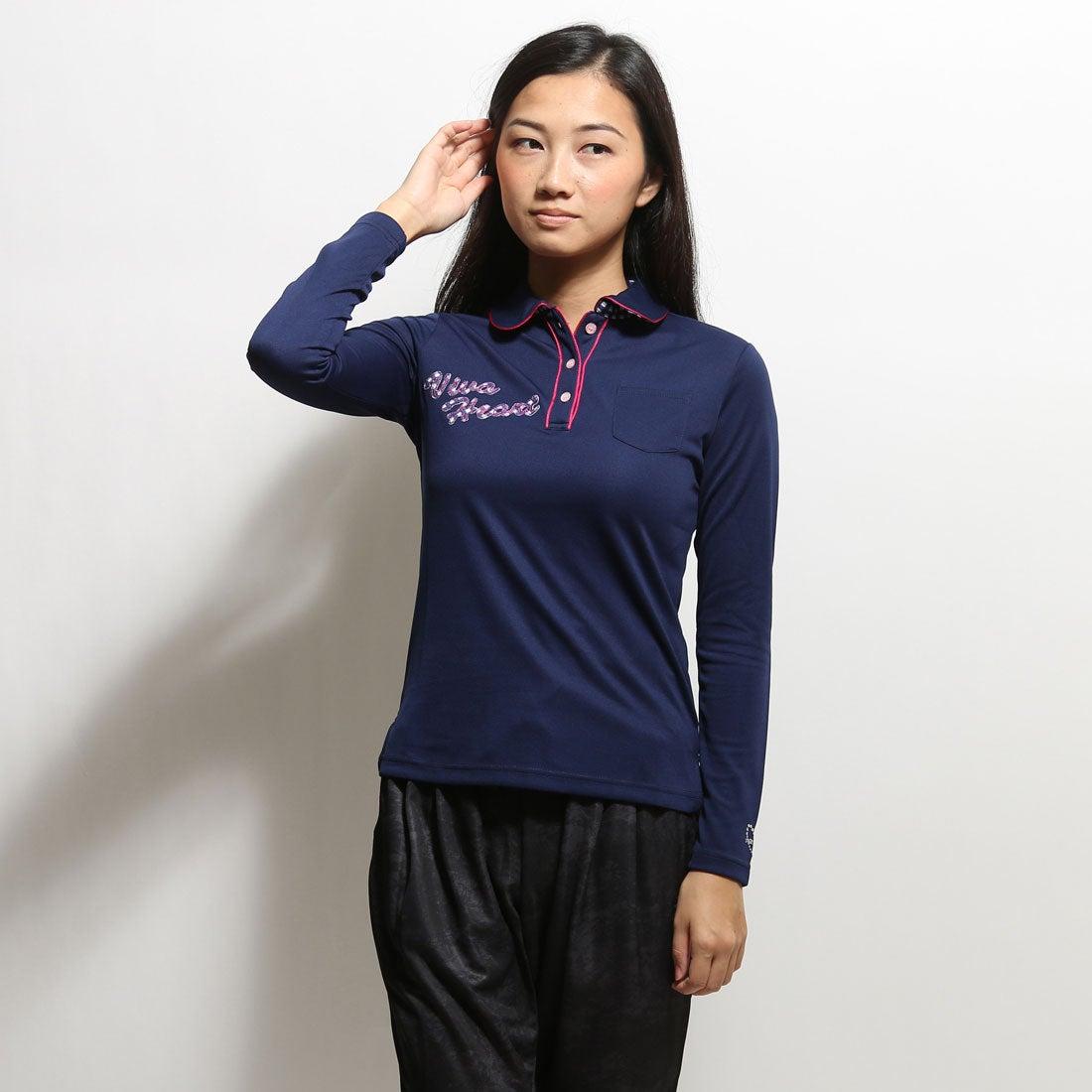 【SALE 62%OFF】ビバハート VIVA HEART ゴルフシャツ UV丸衿★長袖ポロ 018-22910 ネイビー (ネイビー) レディース