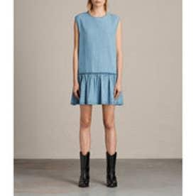 POLLY RUFFLE DRESS (MID INDIGO BLUE)