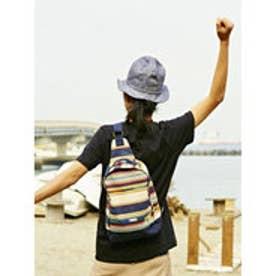 【チャイハネ】エスニック織りボーダー柄ワンショルダーリュック ネイビー