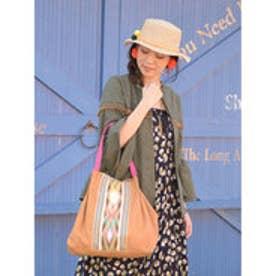 【チャイハネ】インド織り生地キャンバストートバッグ ベージュ