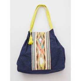 【チャイハネ】インド織り生地キャンバストートバッグ ネイビー