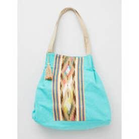 【チャイハネ】インド織り生地キャンバストートバッグ ターコイズブルー