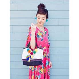 【チャイハネ】カラフルポンポン刺繍入りバッグ ホワイト