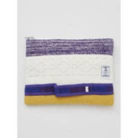 【チャイハネ】ボーダー織りクラッチバッグ ホワイト