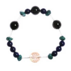 【チャイハネ】ブルーMIXボンジ天然石数珠ブレス ストーン