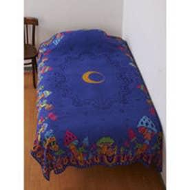 【チャイハネ】夜空に浮かぶ月ときのこベッドカバー(シングルサイズ) パープル