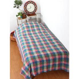 【チャイハネ】チェック織りベッドカバー シングルサイズ ブルー