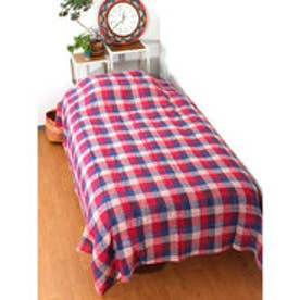 【チャイハネ】チェック織りベッドカバー シングルサイズ レッド