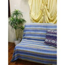 【チャイハネ】カラフルボーダーベッドカバー シングルサイズ ブルー