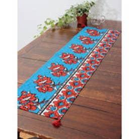 【チャイハネ】アフリカン・カンガ柄テーブルランナー ターコイズブルー