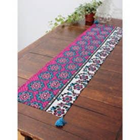 【チャイハネ】アフリカン・カンガ柄テーブルランナー ピンク