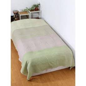 【チャイハネ】インド綿ボーダーベッドカバー シングルサイズ グリーン