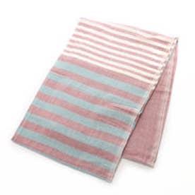 【チャイハネ】インド綿ボーダーベッドカバー シングルサイズ レッド