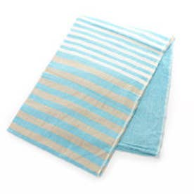 【チャイハネ】インド綿ボーダーベッドカバー シングルサイズ ブルー