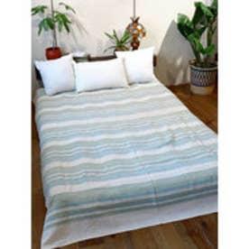 【チャイハネ】インド綿ボーダー柄ベッドカバー シングルサイズ キナリ