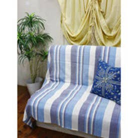 【チャイハネ】インド綿ボーダー柄ベッドカバー シングルサイズ ブルー
