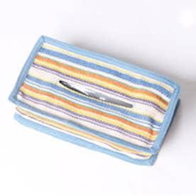 【チャイハネ】ボーダー織りティッシュペーパーケース ホワイト×ブルー