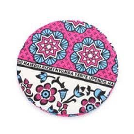 【チャイハネ】アフリカン・カンガ柄ラウンドクッション ピンク