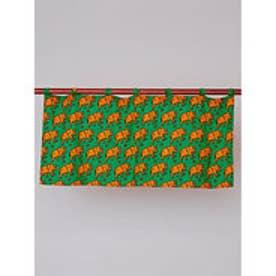 【チャイハネ】ズーズーカフェカーテン45cm グリーン×オレンジ